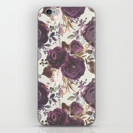 Pastel burgundy violet pink watercolor roses floral iPhone Skin