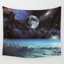 Moon With Space Background Wall Tapestry