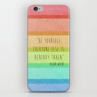 oscar wilde iPhone & iPod Skins featuring Be Yourself: Oscar Wilde by Fifi Le Bon