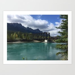 Bow River Engine Bridge - Canmore, Canada  Art Print