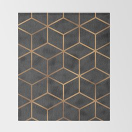 Charcoal and Gold - Geometric Textured Cube Design I Throw Blanket