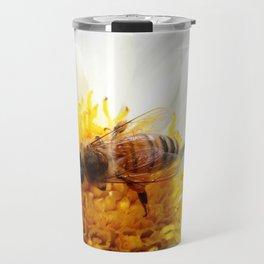Bumble Bee on Flower Travel Mug