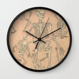 Edo Era Japanese Skeleton Woodblock from Kyosai Sketchbook  Wall Clock