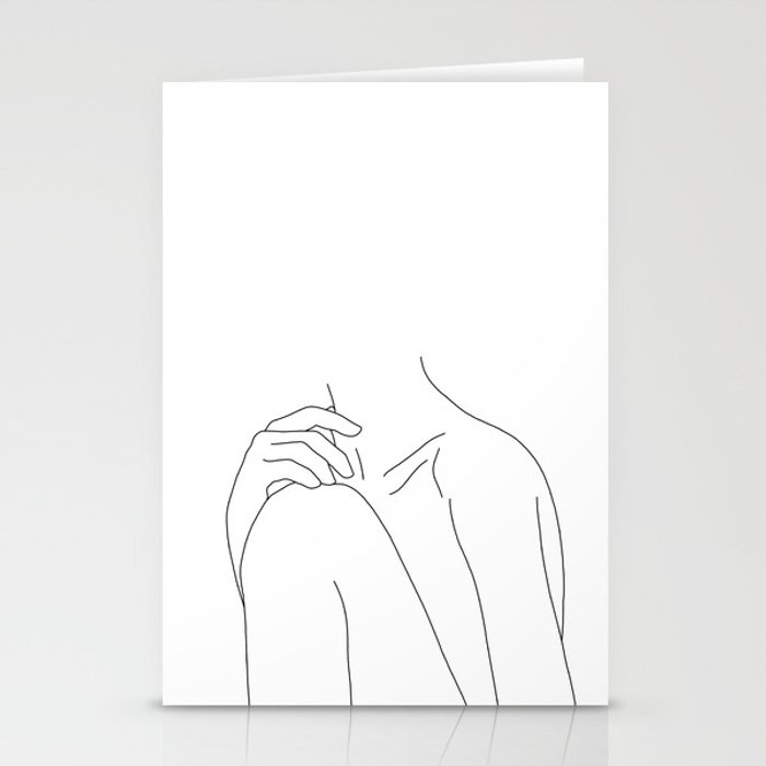 Woman S Body Line Drawing Illustration Cathy Stationery Cards By Thecolourstudy Society6