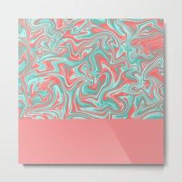 Liquid Swirl - Peach and Green Metal Print