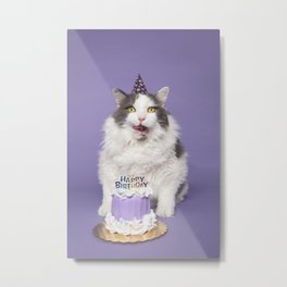 Happy Birthday Fat Cat In Party Hat With Cake Metal Print