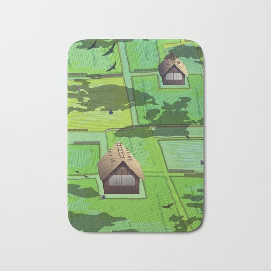 Rice paddy field Bath Mat