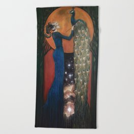 Origin of Inspiration // Peacock Painting Woman Portrait Art Nouveau Bird Stars Goddess Feather Beach Towel