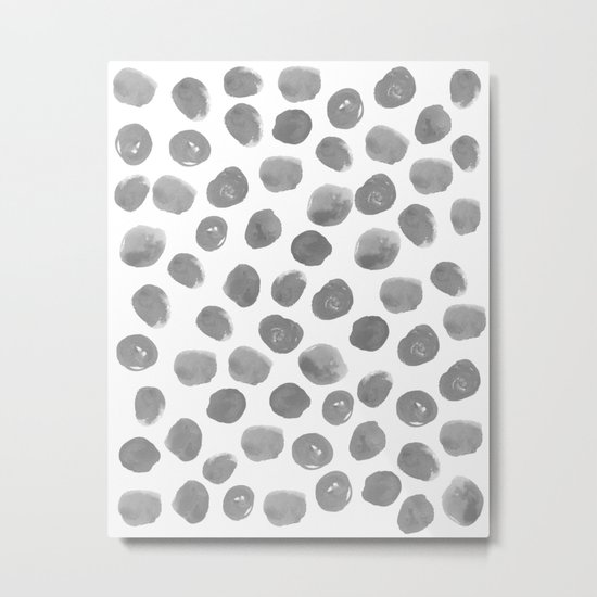 Grayson - grey and white modern brushstroke monochromatic dots abstract painting design hipster art Metal Print