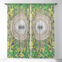 One good world and one Island pop-art Sheer Curtain