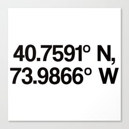 Coordinates of the Richard Rogers Theater - Home of Hamilton: The American Musical Canvas Print
