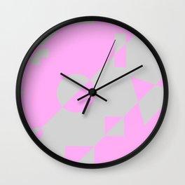 80s Throwback Pink and Grey Geometric Leotard Retro Pattern Wall Clock