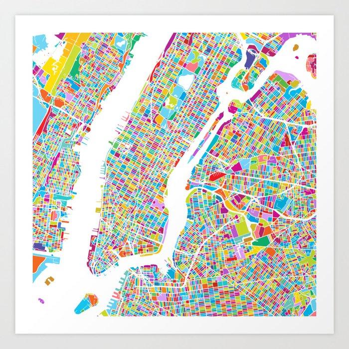 Map Of New York City Manhattan.New York City Manhattan Colorful Map Art Print By Hebstreit Society6