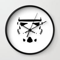 storm trooper Wall Clocks featuring Storm Trooper  by Evan Smith
