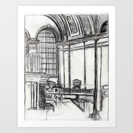 Grand Central (charcoal) Art Print