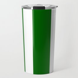 Mixed Vertical Stripes - White and Dark Green Travel Mug