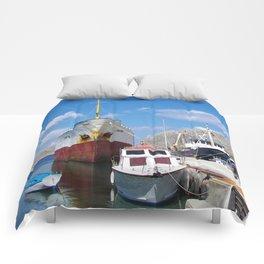 Old Battered Cargo Ship Comforters