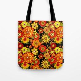 Super groovy flowers Black base orange Tote Bag