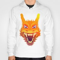 charizard Hoodies featuring Flaming Dragon by Head Glitch