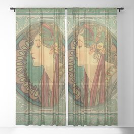 Alphonse Mucha Laurel Sheer Curtain