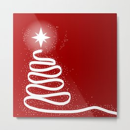 Red Scrible Christmas Tree Metal Print