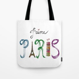 J'aime Paris - Eiffel Tower and Macaron Photograph and Illustration Tote Bag