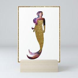 Golden Galaxy Mermaid Mini Art Print