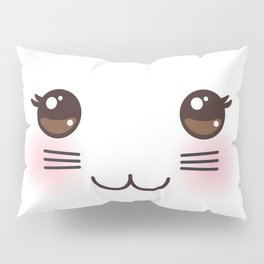 Kawaii funny cat muzzle with pink cheeks and big black eyes on white background Pillow Sham