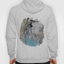 Riptide: an abstract mixed media piece in black, white, brown and blue Hoody