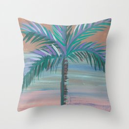 wispy palm tree blended sky Throw Pillow