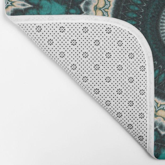 Mandala Fractal in Teal Study 01 Bath Mat