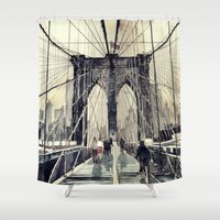 brooklyn Shower Curtains featuring Brooklyn Bridge by takmaj