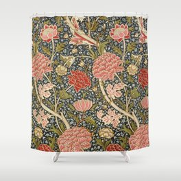 William Morris Sunflowers and Pink Peonies Floral Textile Tapestry Pattern Shower Curtain