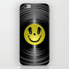 Vinyl headphone smiley iPhone Skin