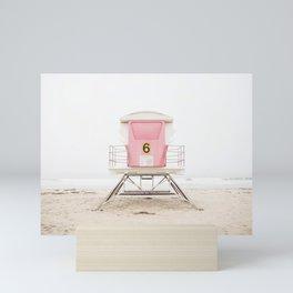 Beach photography pink tower Mini Art Print