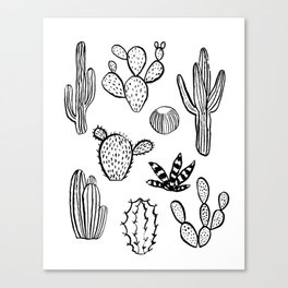 Cactus desert southwest palm springs festival house plant succulent terrarium black and white art Canvas Print