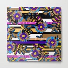 Floral Stripe Metal Print