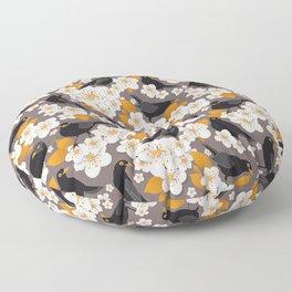 Waiting for the cherries II // Blackbirds brown background Floor Pillow