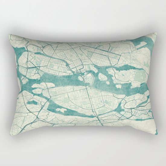 Stockholm Map Blue Vintage Rectangular Pillow