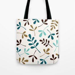 Assorted Leaf Silhouettes Teals Brown Gold Cream Tote Bag