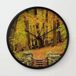 Hike In Autumn Woods Wall Clock
