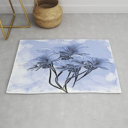 Painterly Blue Floral Rug