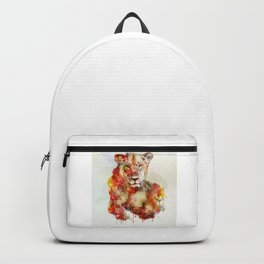 Resting Lioness Watercolor Painting Backpack