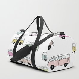 Happy Camper Van Bus pink traveling hippie boho girls summer pattern design print Duffle Bag