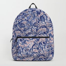 Vinage Lace Watercolor Blue Blush Backpack