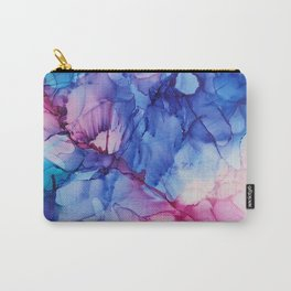 Alcohol ink flowers modern art blue pink vegetal Carry-All Pouch