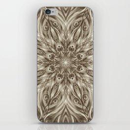 off white sepia swirl mandala iPhone Skin