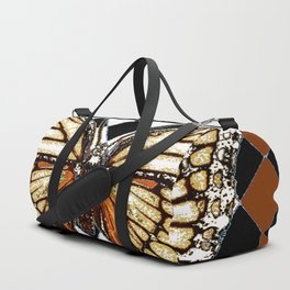 BLACK HARLEQUIN PATTERNED BROWN-WHITE  BUTTERFLY Duffle Bag