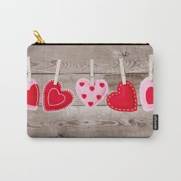 II - Clothesline with Valentine's Day hearts decorations on a rustic background Carry-All Pouch