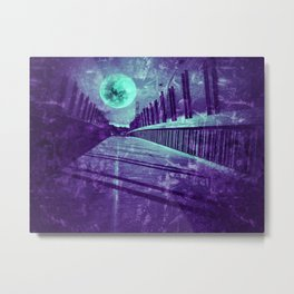 Full moon over pedestrian bridge - teal grunge artwork Metal Print